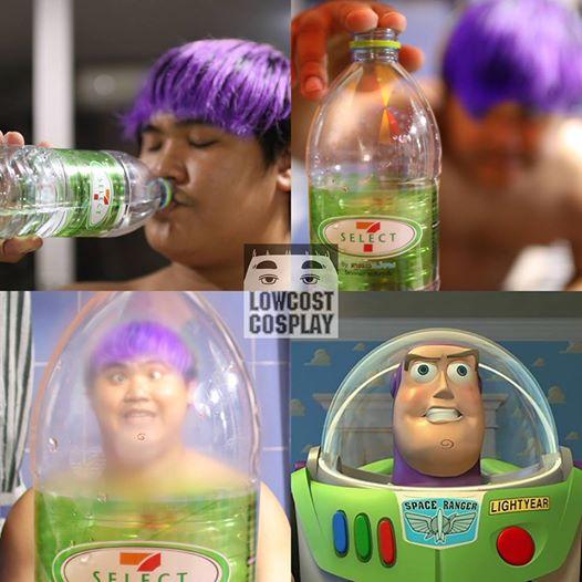 Kwikku, Bermodalkan botol air mineral kosong  pria ini menyulap dirinya menjadi salah satu karakter Toy Story Gimana Mau coba