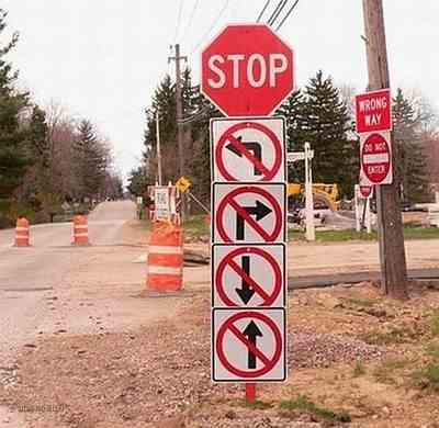 Kwikku, STOP Belok kiri gak boleh belok kanan gak boleh maju gak boleh mundurpun gak dibolehin Maksudnya diam gitu
