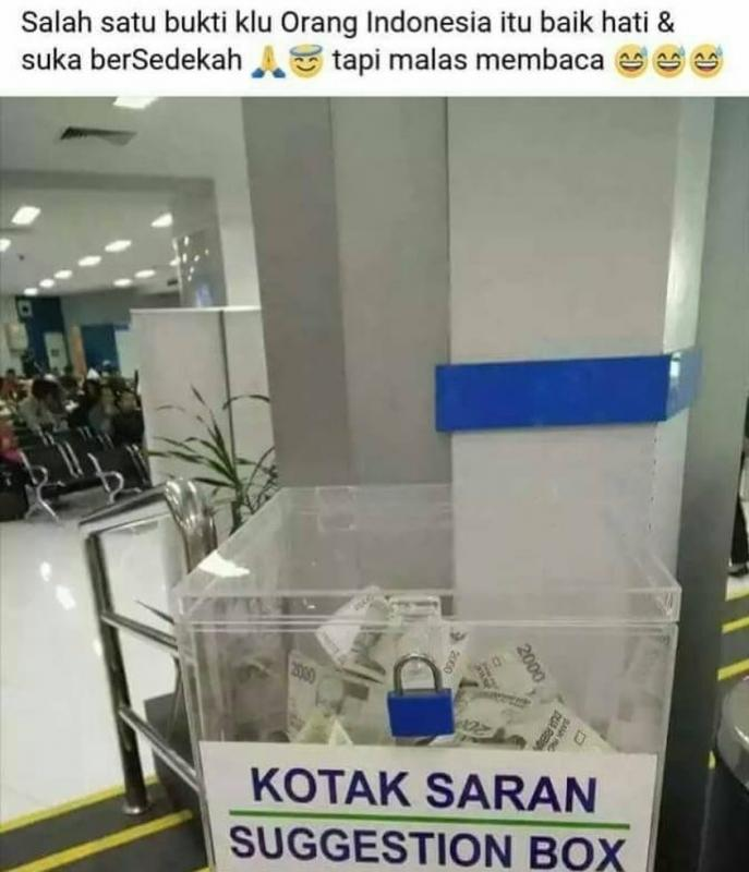 Kwikku, Ini orang gak tau bahasa inggris atau bahasa indonesia sih Kok bisabisanya kotak saran di kira kotak amal wah rejeki nomplok tuh