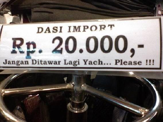 Kwikku, Ada ada saja kelakuan orang indonesia ketika berdagang Mungkin orang ini sudah trauma karena sering di tawar murah barang dagangannya