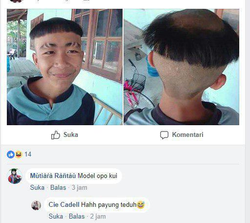 Kwikku, Enggak tau apa alasan orang ini sampai mau memilih model rambut seperti ini Tetapi yang jelas ini di sengaja nih Kalo kecelakaan dalam pangkas gak bakalan serapih itu