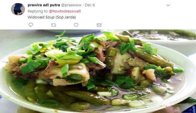 Kwikku, Mungkin di Indonesia makanan ini bernama Sop Janda tetapi setelah di bawa ke luar negeri sop ini akan berubah nama menjadi Widowed Soup Keren bukan namanya
