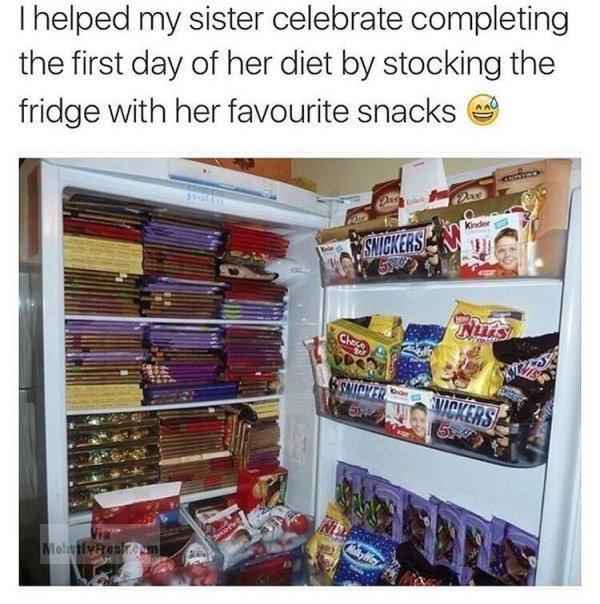 Kwikku, Ketika di hari pertama diet seorang kakak membantu mengisi kulkas penuh dengan snack