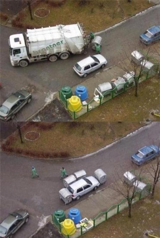 Kwikku, Garagara parkir di depan tempat sampah lihat saja apa yang di lakukan oleh para petugas Abis tu mobil malah menyulitkan petugas akhirnya di bales deh