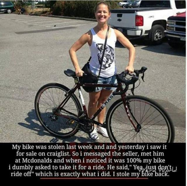 Kwikku, Jadi ceritanya si mbak baru saja habis mencuri ulang sepedanya sendiri yang di curi kemarin