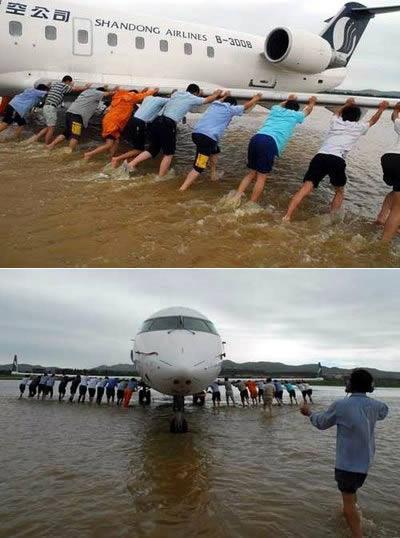 Kwikku, Hanya ada di China kejadian di mana pesawat mogok dan di bantu didorong oleh para penumpangnya
