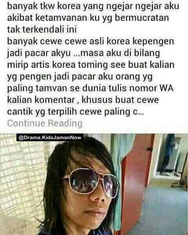 Kwikku, Katanya mirip artis korea dan ketampanannya bermuncratan kemana mana wkwkwk Bermuncratan Helooow