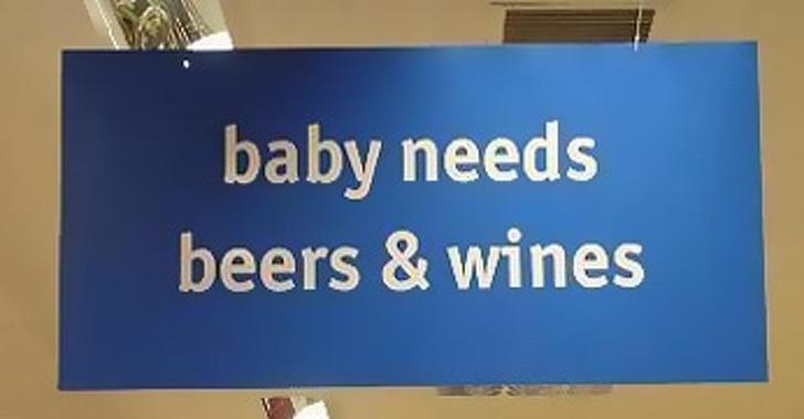 Kwikku, Meski kata dokter bayi itu cuma boleh minum susu Sebuah label dalam suatu toko bersikeras bahwa bayi itu harus minum bir dan anggur