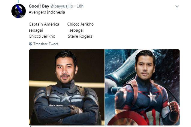 Kwikku, Seragam Captain Amerika juga sangat cocok di gunakan oleh Chicco Jerikho tuh Apa kita ganti aja kali ya