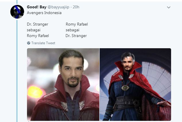 Kwikku, Doctor Strange juga sangat cocok jika di perankan oleh seorang Romy Rafael nih guys ternyata banyak juga ya yang mirip wkwkwk