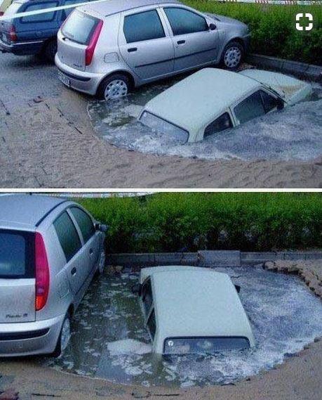 Kwikku, Ada mobil nyemplung tuh di tempat parkir Eits jangan salah guys Itu adalah salah satu bentuk kreativitas pelukis jalanan loh