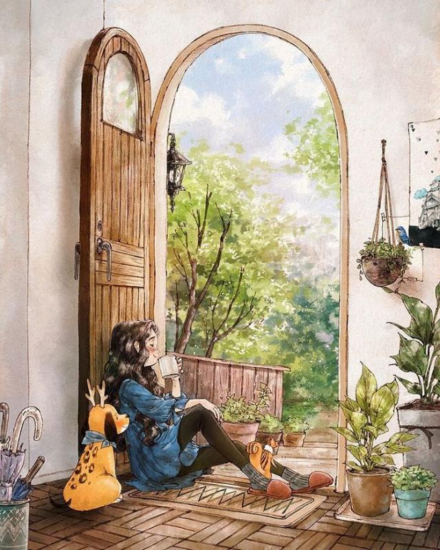 Kwikku, Ketika bosan bersama teman secangkir teh bisa menjadi teman sambil duduk di depan pintu rumah