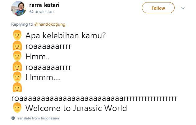 Kwikku, Emang ada lowongan kerja di Jurasic World ya Jadi apa emang