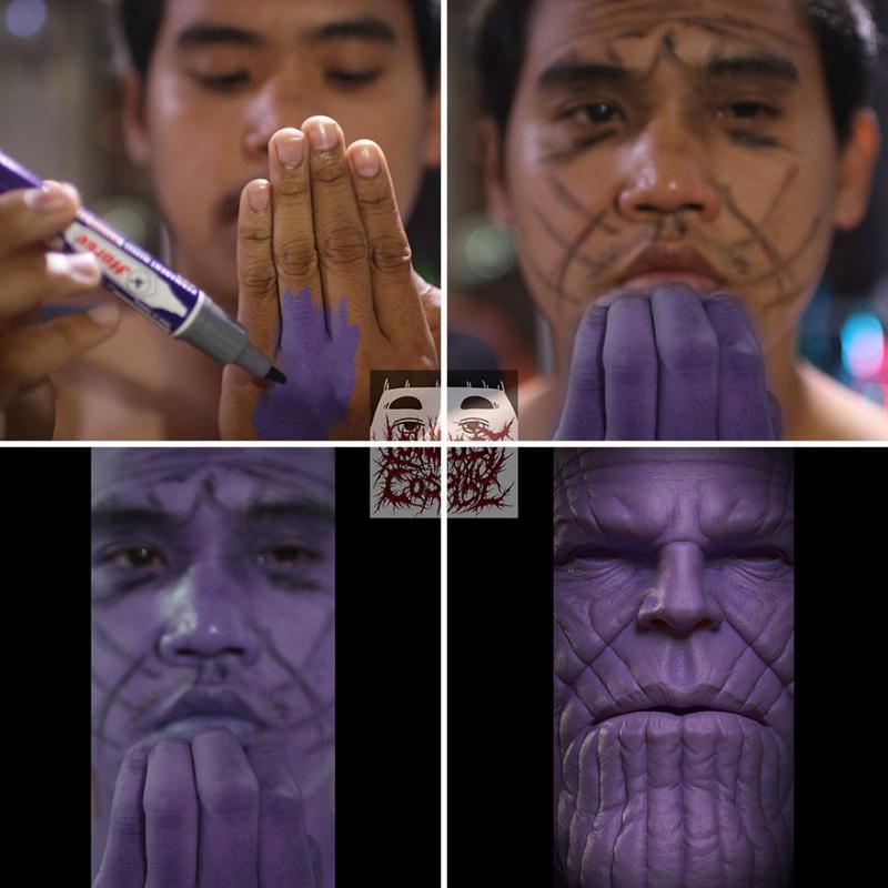 Kwikku, Ecekecek ingin bercosplay Thanos dengan bermodalkan hanya dengan sebuah spidol lihat apa yang terjadi pada hasilnya