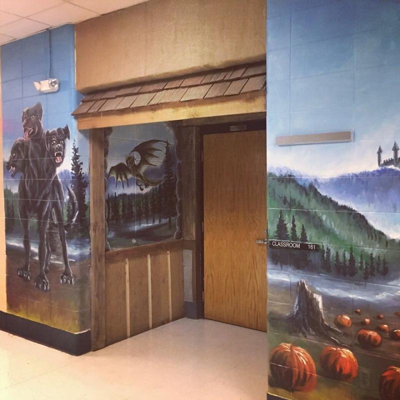 Kwikku, Ini penampakan di depan pondoknya hagrid yang menghiasi dinding ruang kelas Gryffindor