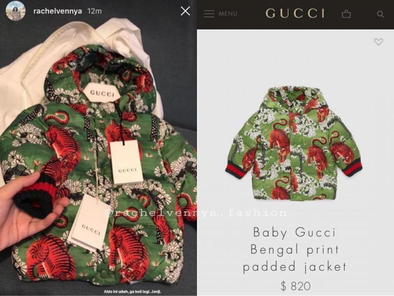 Kwikku, Anak dari pasangan selebgram Rachel Vennya dan Niko Al Hakim yaitu Xabiru Oshe AlHakim punya koleksi jaket keluaran Gucci dengan nama Bengal Print Padded Jacket yang harganya mencapai Rp  juta loh guys