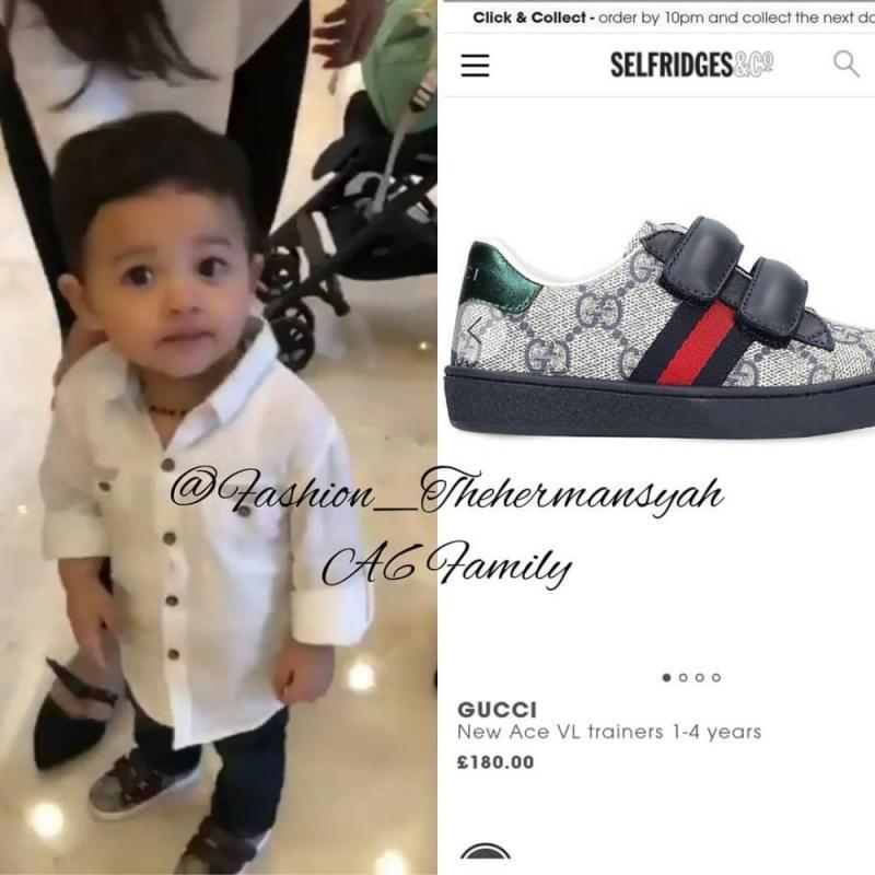 Kwikku, Gak hanya baju aja yang mahal sepatu dari anak bungsu Anang Hermansyah ini juga punya harga yang bisa dibilang cukup mahal yah guys yaitu sekitar Rp  Juta Tuh tampilan Arsya Hermansyah makin kece kan dengan dengan sepatu keluaran Gucci tersebut