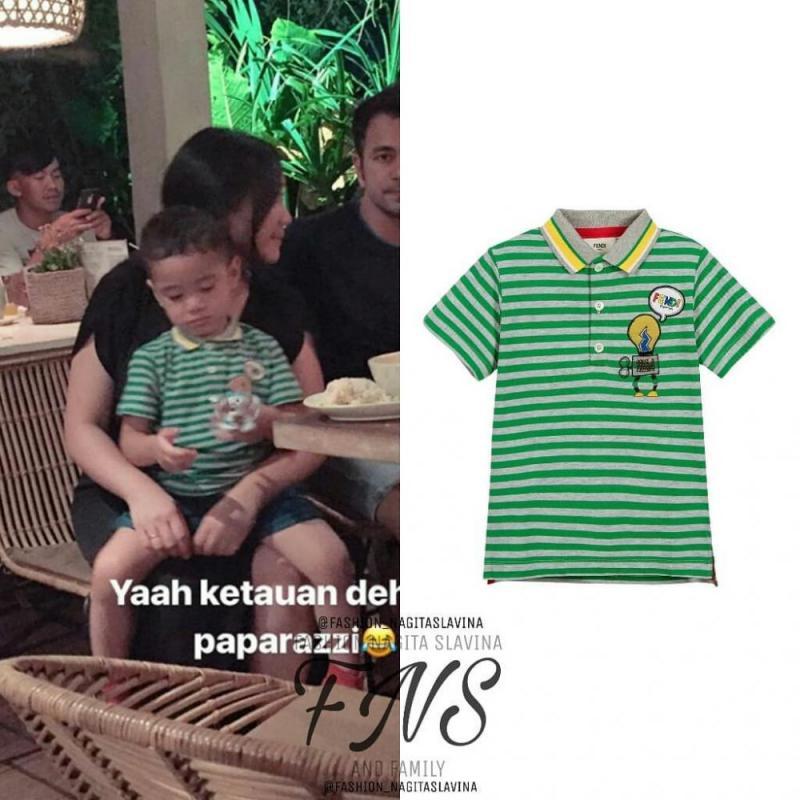 Kwikku, Nah kalo yang satu ini sudah gak perlu dipertanyakan lagi nih Anak dari artis papan atas Raffi Ahmad ini terlihat sedang mengenakan Striped Polo Tshirt dari Fendi yang harganya Rp  juta Gimana Rafathar kece abis kan yah