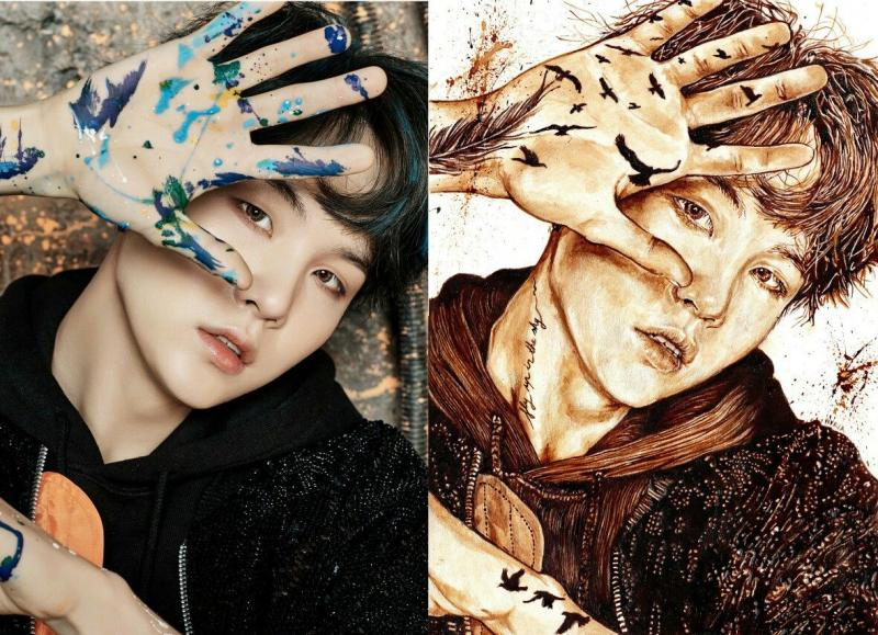 Rayakan Album BTS Masuk Chart Billboard Penggemar Buat Ilustrasi Dari Kopi