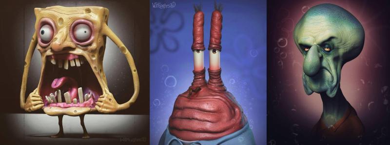 Jadi Seram Gambar Tokoh - Tokoh Sponge Bob Square Pants Disulap Menjadi Seperti Monster Mau Lihat