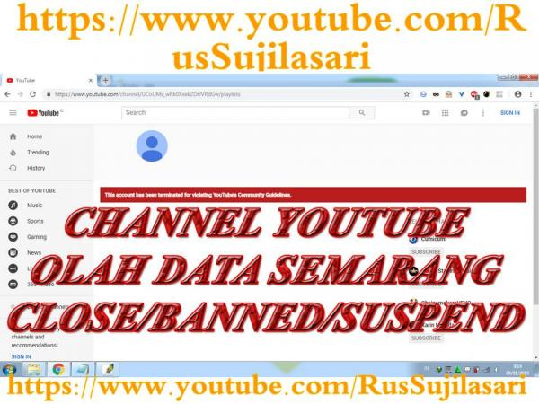 Channel Youtube Olah Data Semarang Close Banned Or Suspended